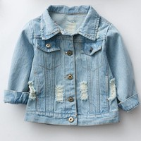 Trendy Spring Autumn 2017 Baby Coat Outwear Kids Outerwear Clothes Girl Embroidery Holes Cardigan Denim Jacket Coat Children Jacket AT_94_13