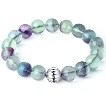 Sterling Silver Bead and Multicolor Fluorite Crystal Stretch Bracelet