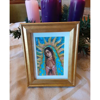 Lady of Guadalupe Gold Framed Print - New!