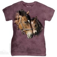 TWO HEARTS Womens Horse T-Shirt Pony Equine Love The Mountain Top S-2XL NEW!