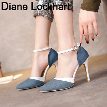 Women Spring Casual High-Heeled Shoes Pointed Toe Buckle Strap Super High Heels Pumps