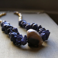 Brown Agate and Blue Lapis Statement Necklace, Gemstone long layered Trendy Necklace, Brown Blue Golden Crystals Beaded stacking Necklace