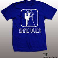 Game Over Shirt - wedding, bachelor party, groomsmen, bridesmaid, stag, bachelorette, marriage, bride, maid of honor, mens womens tee, gift