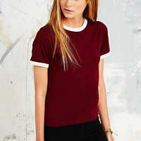 Cooperative Ringer Marl Tee in Maroon - Urban Outfitters