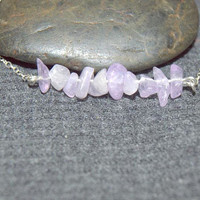 light amethyst necklace, gemstone bar necklace, natural stone jewelry,lavender beads necklace, tiny gemstone necklace, sterling silver