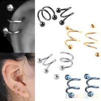 1 PCS Punk Stainless Steel S Spiral Helix Ear Stud Lip Nose Ring Cartilage Piercing