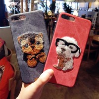 cute embroidery Teddy pug HUSKY dog pet cover for apple iPhone 6 6s plus 5.5 iPhone7 7plus 8 8P X soft mobile phone case capa