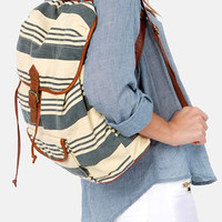 O'Neill Coco Cream and Blue Striped Backpack