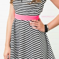 Not For Long Black & White Striped Dress