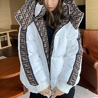Fendi new style ladies two-sided full print casual loose bread jacket hooded down jacket women
