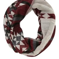 Woven Aztec Infinity Scarf by Charlotte Russe - Red Combo