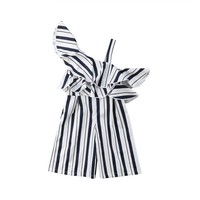 Korean Style Kids Girls Off Shoulder Ruffles Striped Rompers Jumpsuit Palysuit Outfits 2018 Summer Children Girls Clothing