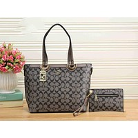 COACH Popular Women Shopping Bag Leather Tote Handbag Shoulder Bag Two Piece Grey I-KSPJ-BBDL