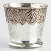 Mercury Glass Candleholder with Metal Overlay