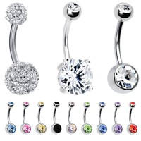 BodyJ4You 12 Pieces Belly Button Ring Curved Barbell Piercing Jewelry Gift Box