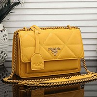 PRADA sewing thread solid color chain shoulder bag ladies shopping messenger bag Yellow