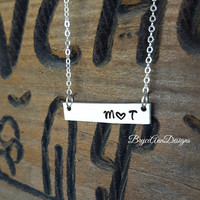 Silver Bar Initial Necklace, Couples Initials Necklace, Layered Necklace, Bar Initial Necklace, Couples Necklace, Silver Layering Necklace