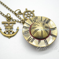 Anime One piece pocket watch necklace,Luffy's hat and one piece anchor and wheel pendant locket watch necklace NWHZ04