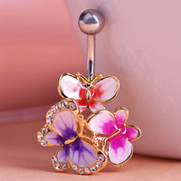Gold Enamel Esmalte Crystal Body Feminino Umbigo Body Jewelry Navel Piercing Butterfly Belly Ring Medical Steel Umbilical Ring