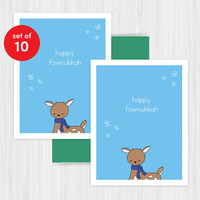 Funny Hanukkah Cards Chanukah Card Set Holiday Handmade Greeting Cute Deer Pun Fun Humorous Happy Holidays Boxed Set Pack of 10 Gift Ideas