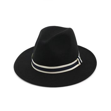 Striped Belt Flat BrimJazz Fedoras Hat