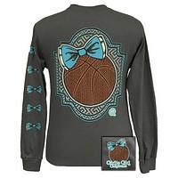 Girlie Girl Originals Preppy Basketball Charcoal Long Sleeve T-Shirt