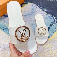 LV Louis Vuitton new product printed letter gold logo ladies casual sandals beach slippers Shoes White