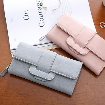 2017 Fashion Brand Casual Solid Long Women Purses PU Leather Hasp Coin Card Holder Soft Female Wallet For Credit Cards Handbag