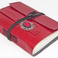 Red Faux Leather Journal with Rose Cameo Bookmark