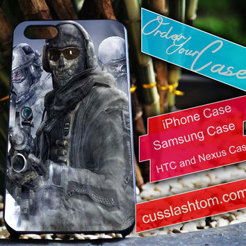 Exclusive Call Of Duty Ghost Mask iPhone for 4 5 5c 6 Plus Case, Samsung Galaxy for S3 S4 S5 Note 3 4 Case, iPod for 4 5 Case, HtC One M7 M8