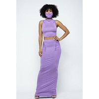 Cree Lavender Mock Neck Two-Piece Skirt Set with Mask