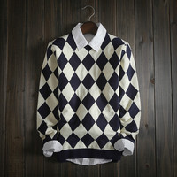 Fashion Men's Comfortable Geometric Diamond Knitted Sweater