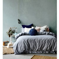 Queen Quilt Cover Set Shannon Fricke Light Walking Linen Cotton Embroidery