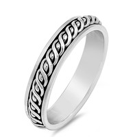 925 Sterling Silver Wrap Around Wire Knot Spinner Ring 5MM