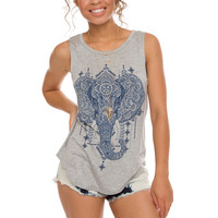 Ellie Elephant Top - Grey