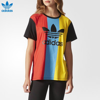 """Adidas"" Multicolor Stripe Clover Print Round Neck Short Sleeve Women T-shirt"