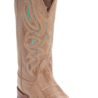 Nocona® Women's Honey Cowhide w/Turqoise Stitch Double Welt Square Toe Western Boots