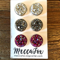 Mecca Fox 12MM Earring Set of 3- Silver, Charcoal, Maroon Druzy in Silver Setting