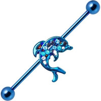 14ga Dolphin Blue Anodized Industrial Cartilage Barbell 316L Surgical Steel