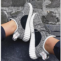 """""""Adidas"""" Women Yeezy Boost Sneakers Running Sports Shoes Foot Grey black dots"""