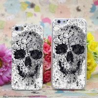 Doodle Skull Bw Transparent Hard Case Cover for iphone 6 6s plus 4 4s 5 5s 5c Clear Phone Cases