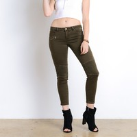 see you later biker jeans - olive