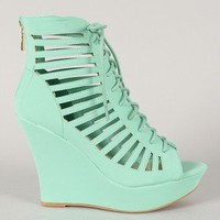 Bamboo Charli-32 Strappy Cut Out Lace Up Platform Wedge