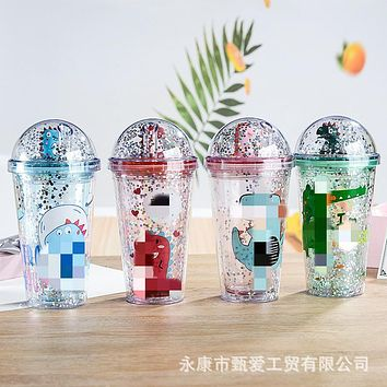 Plastic Cup New Creative Summer Dinosaur Sippy Cups Cartoon Double Gifts Glass Dome With Sequins Straws