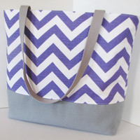 Chevron tote . Chevron beach bag . Purple White and gray . standard size . great bridesmaid gifts . READY To SHIP