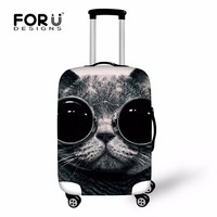 FORUDESIGNS Black Glasses Cat Suitcase Cover For 18-30 inch Trolley Suitcase Elastic Luggage Protective Cover Travel Accessories