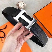 Hermes New fashion H letter buckle leather couple belt with box