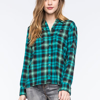 Hurley Wilson Womens Flannel Shirt Teal Blue  In Sizes