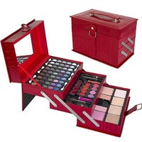 Ivation All-In-One Makeup Kit in Highly Fashionable Red Leather-look Train Case