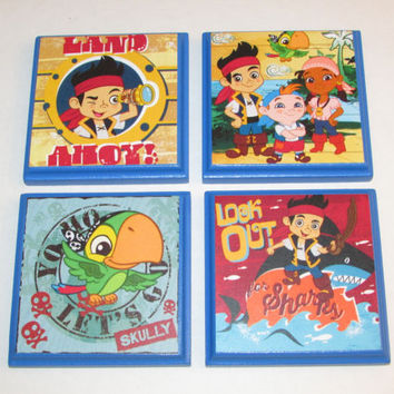 Jake and the Neverland Pirates Room Wall Plaques - Set of 4 Pirate Jake Boys Room Decor - Pirate Room Sign